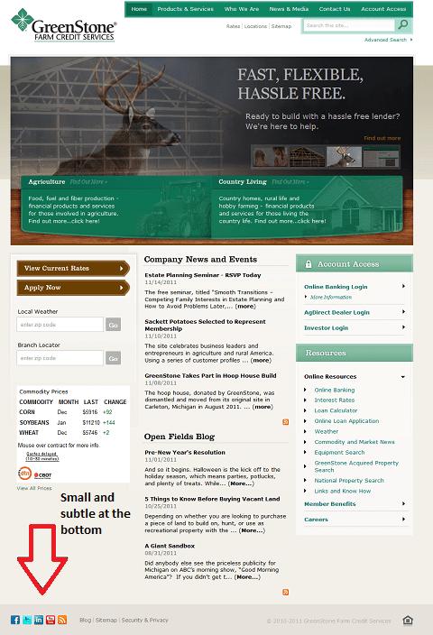 Сайт компании, занимающейся кредитами для фермеров, предпочитает маленькие кнопочки в подвале