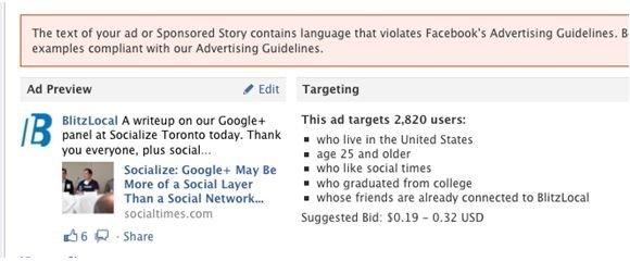 И в заключение: если в рекламе Facebook вы упомянете Google+, то вот что будет: