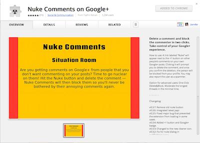 Nuke comments позволяет блокировать спамеров, они не смогут комментировать на вашей странице в Google+