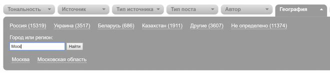 YouScan позволяет отобрать упоминания из конкретного региона или города