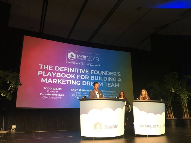 Panel discussion with Dropbox's Kady Srinivasan and Elena Verna from Malwarebytes, which focused on team structure for marketing operations