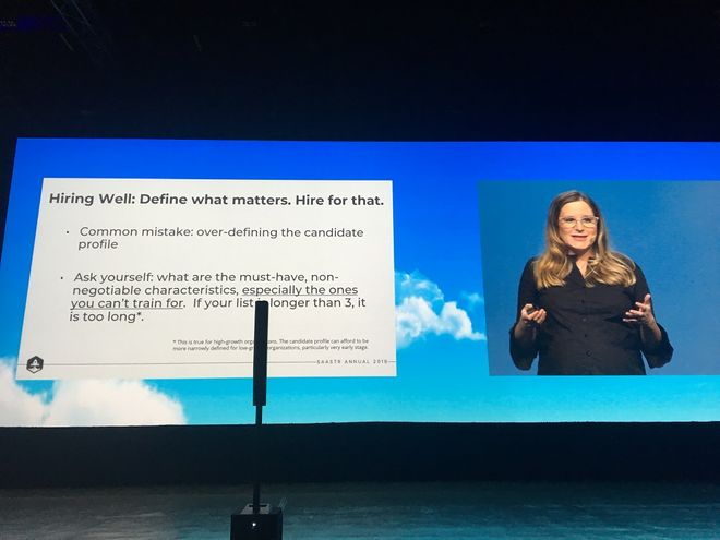 Gillian Helta, senior VP of customer support at TalkDesk, gave a very informative talk on how to achieve 130% Net Retention