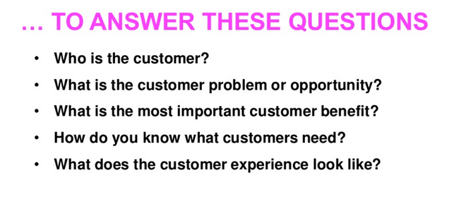Main questions about your customer