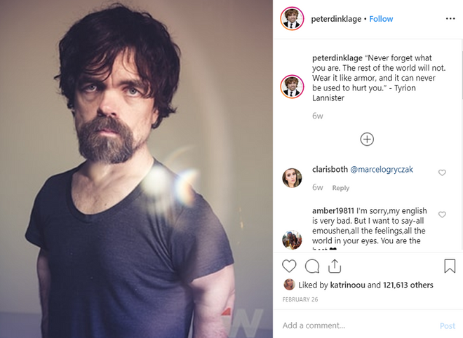 Game of Thrones 8. Peter Dinklage is the main GoT influencer