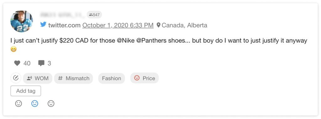 A complaint about the price of Nike