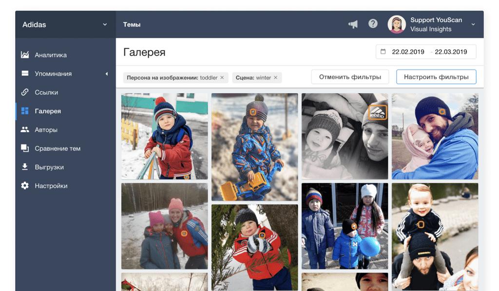 Система мониторинга соцмедиа YouScan, Визуальные Инсайты, Галерея, Распознавание Сцены на изображении