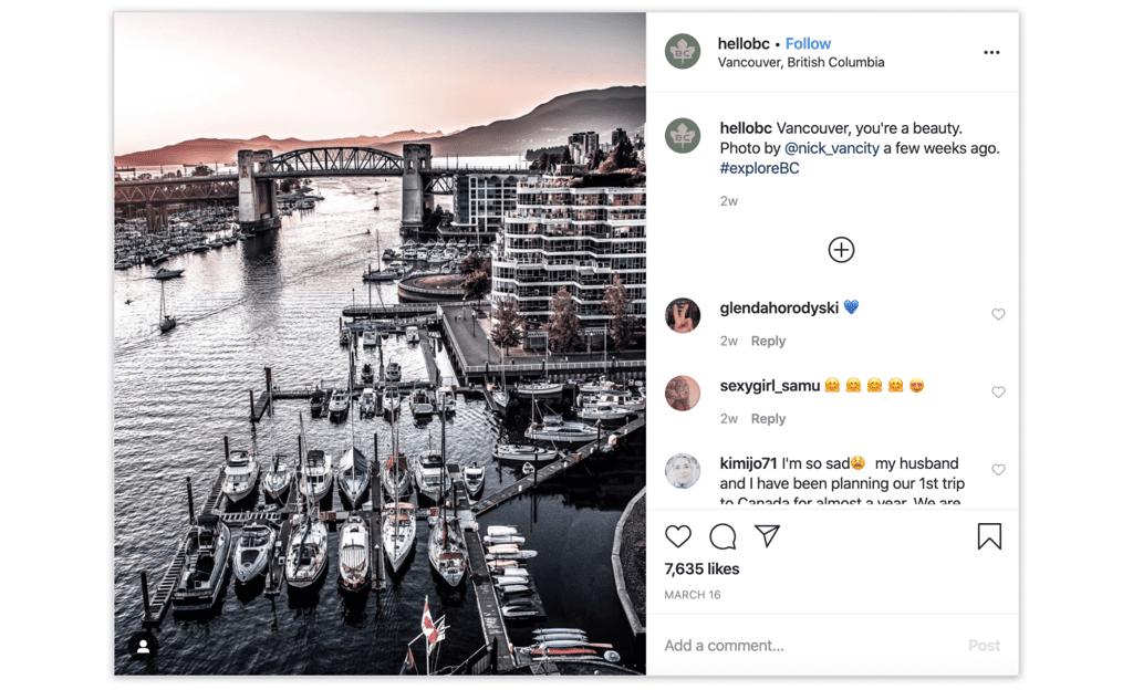 Instagram-аккаунт Британской Колумбии использует исключительно контент путешественников