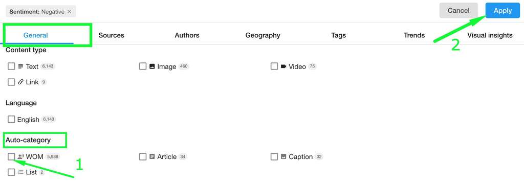 select the WOM auto category and sort the stream by engagement or number of comments