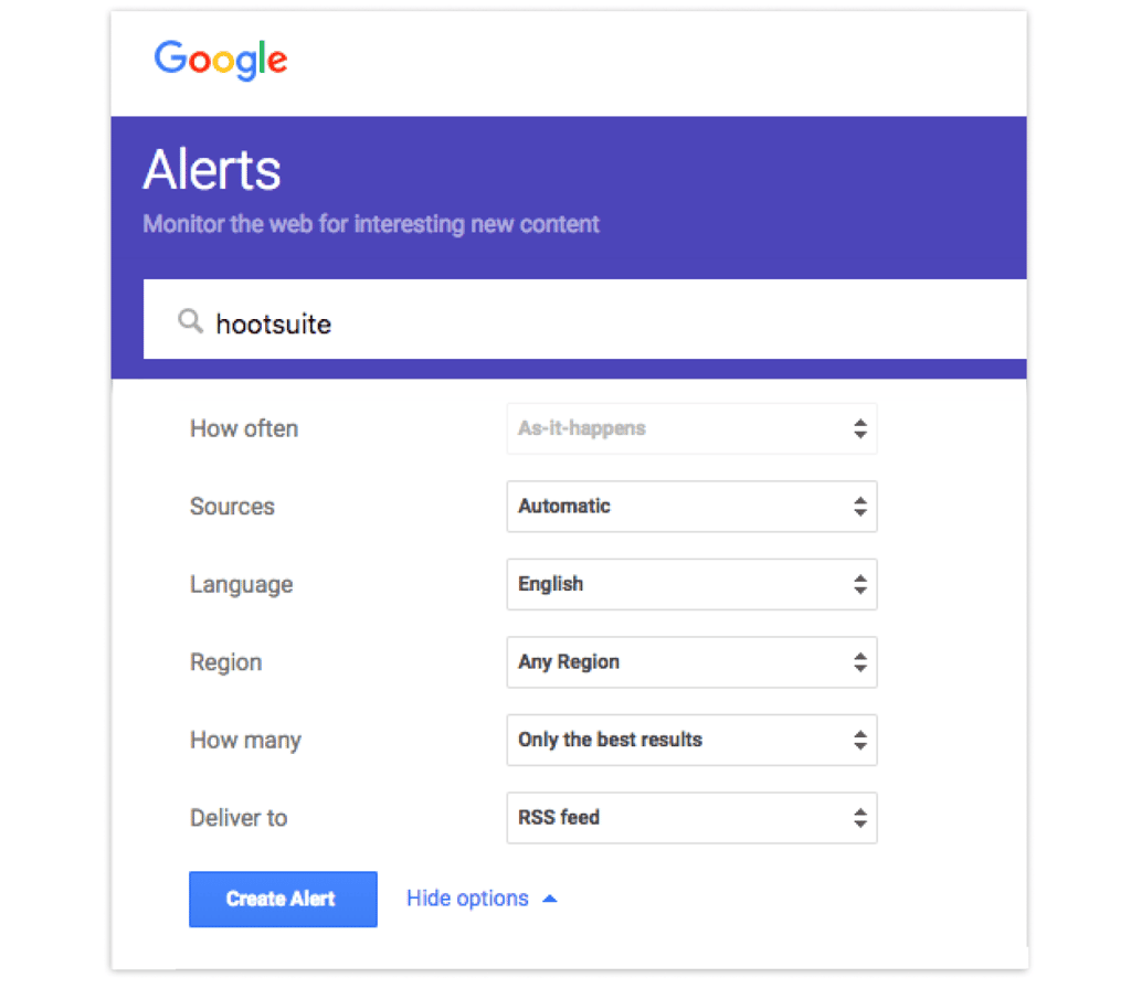 Google Alerts Interface