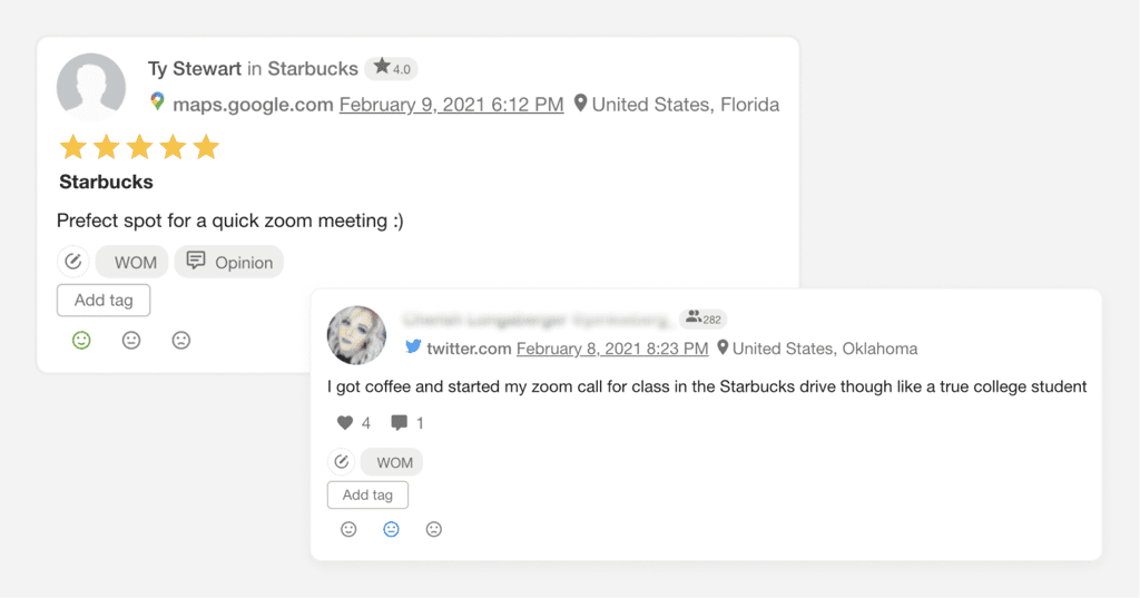 mentions about coffee social listening