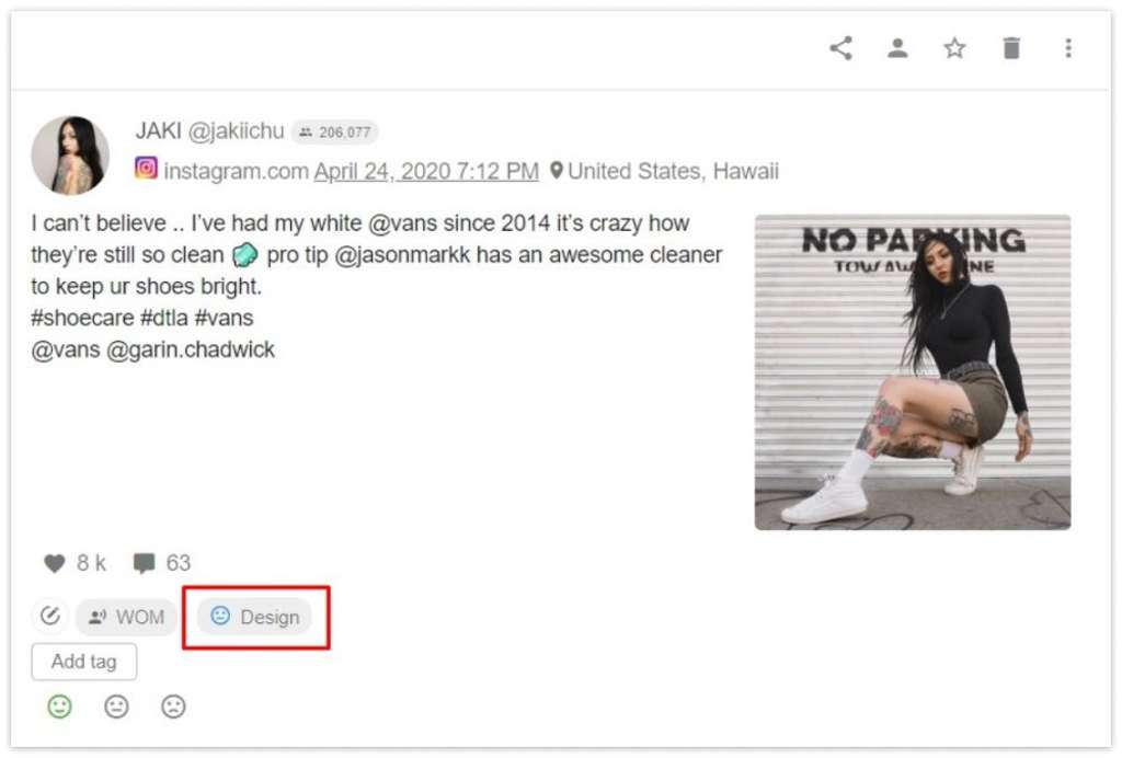The example of filtering mentions by the Design aspect of a brand Vans | YouScan