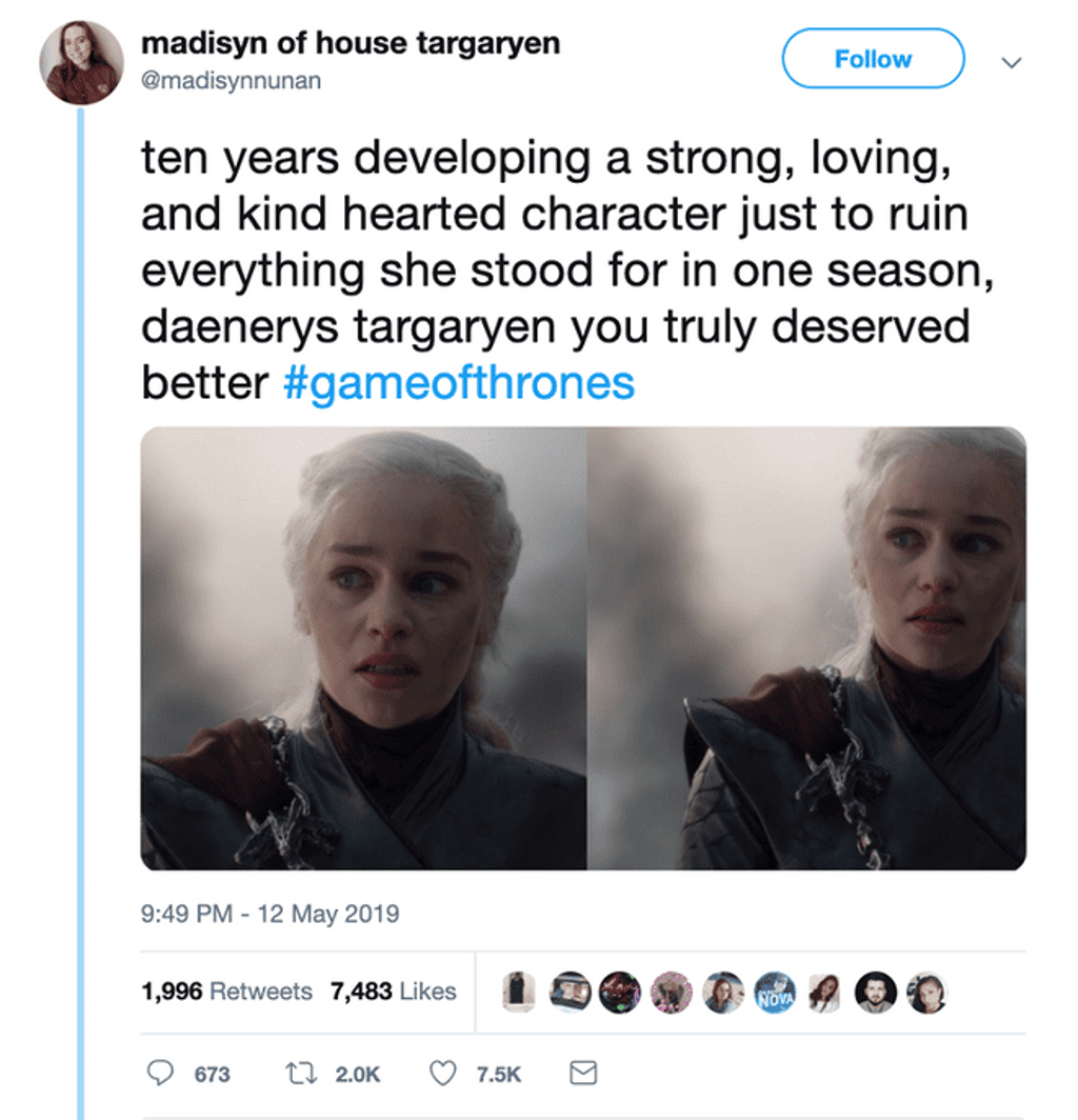 Game of Thrones Season 8 Comments - Twitter Post