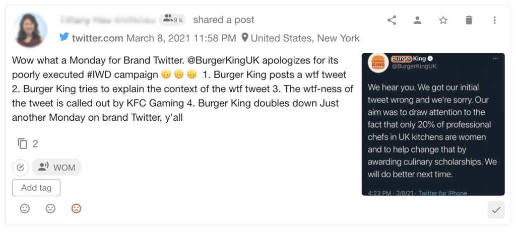 users feedback on burger king campaign found by youscan