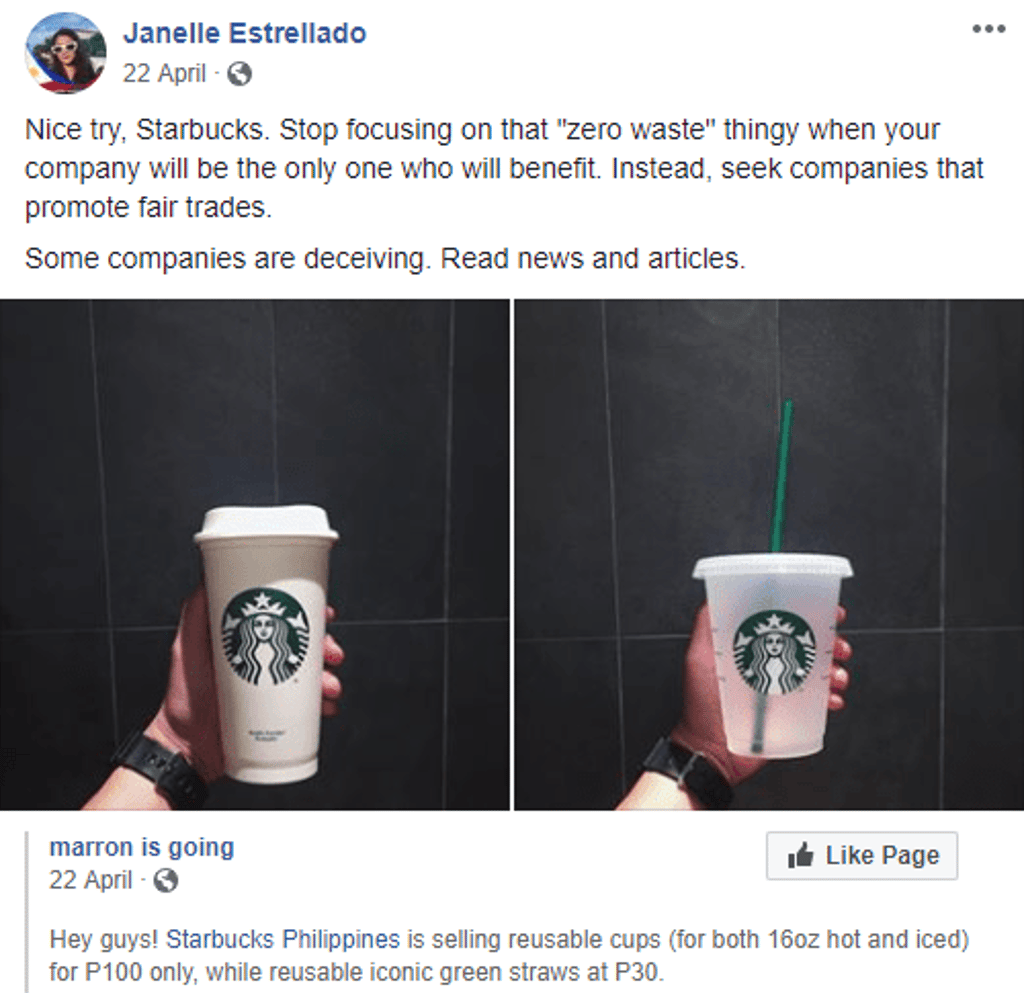 Starbucks Reusable Cups - Negative Discussions
