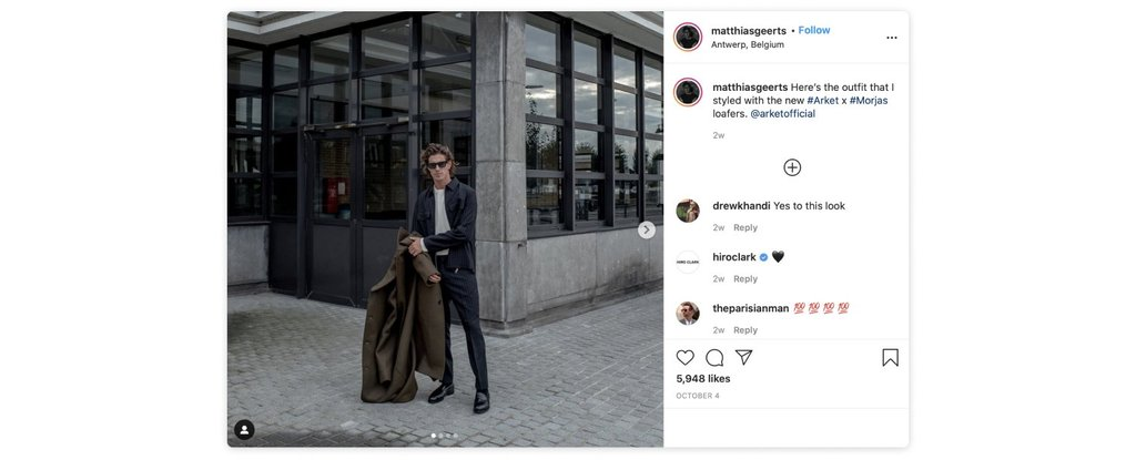 Male influencer wearing Arket