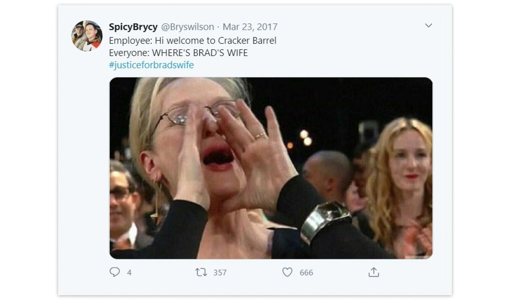 The tweet with a hashtag #JusticeforBradsWife