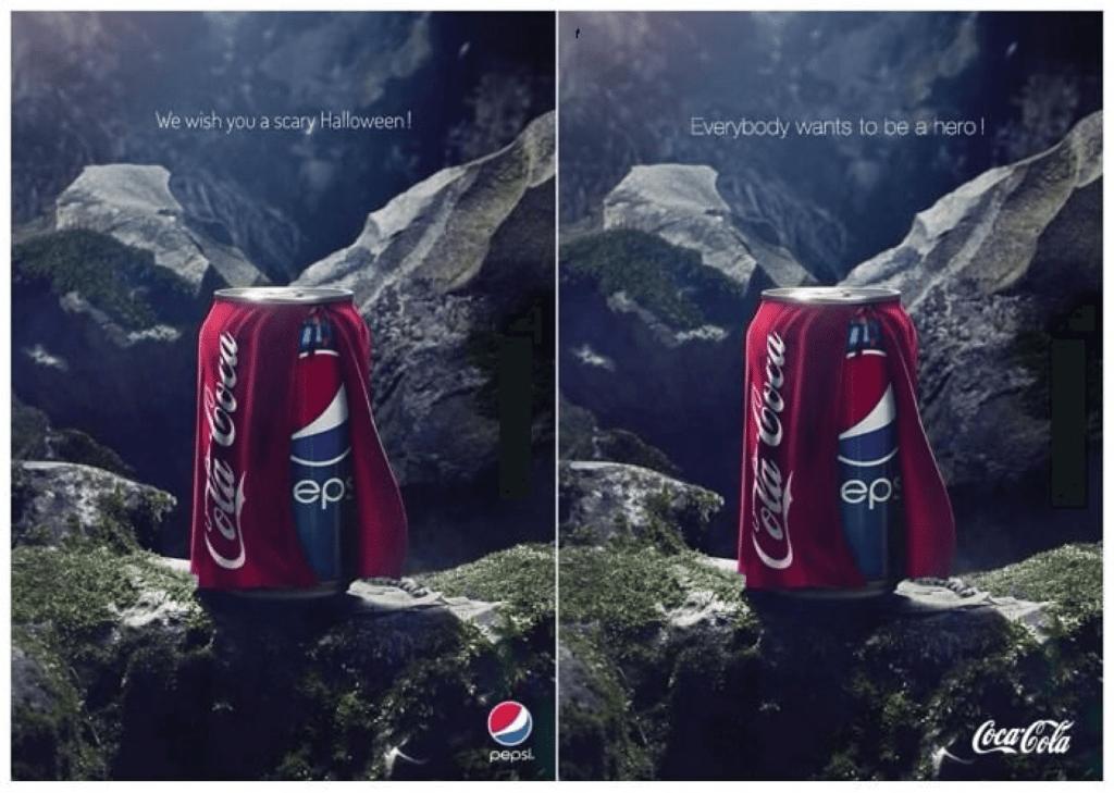 coca cola и pepsi на фоне горы