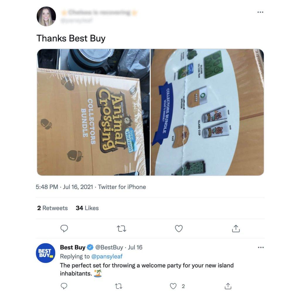 brand's reply on social media